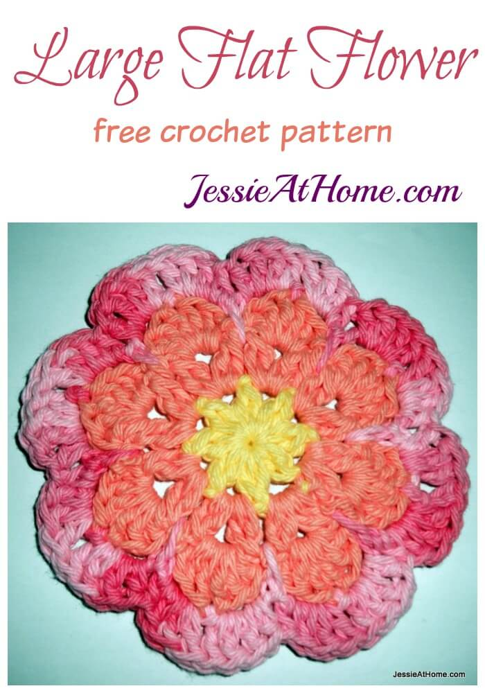 Large Flat Flower - free crochet pattern by Jessie At Home