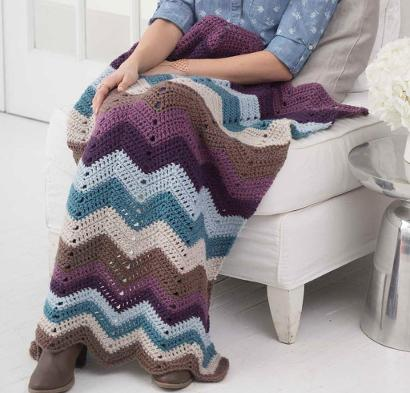 Cozy Nights Ripple Afghan Kit #CrochetKit from @beCraftsy