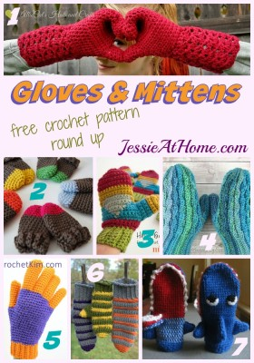 Gloves and Mittens free crochet pattern round up from Jessie At Home