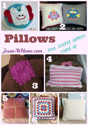 Pillows - free crochet pattern round up from Jessie At Home