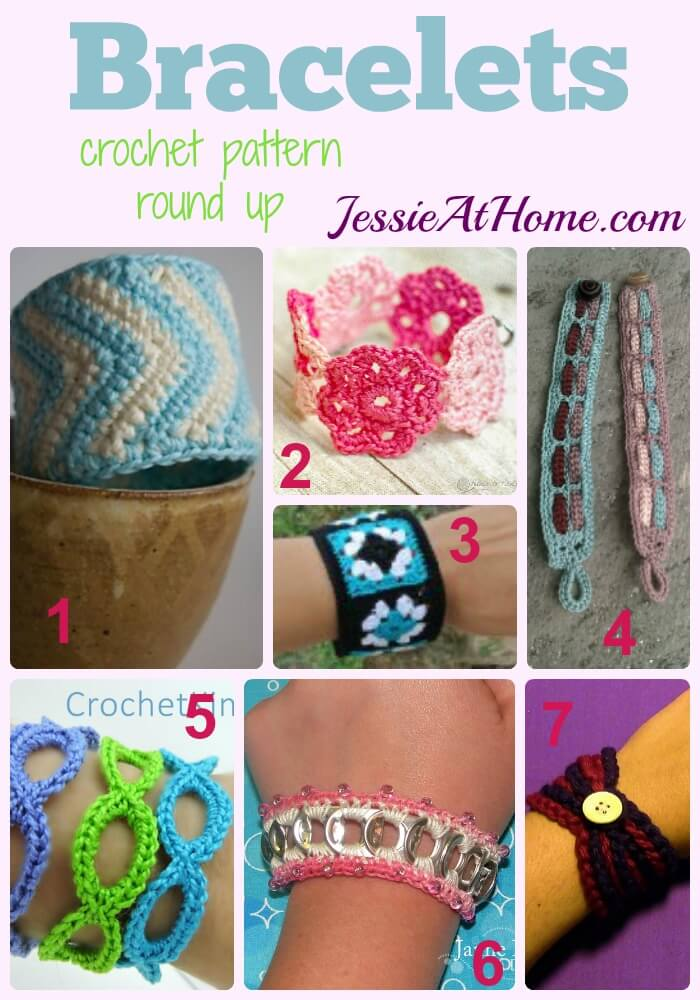 Crochet Bracelets - free crochet pattern round up from Jessie At Home