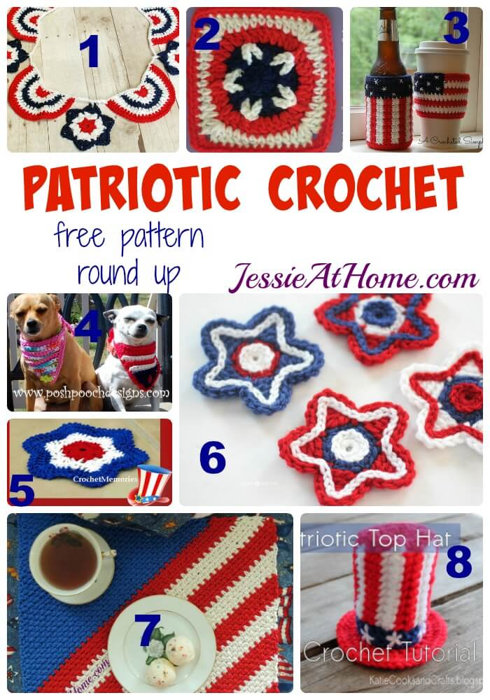 Patriotic Crochet - free crochet pattern round up from Jessie At Home