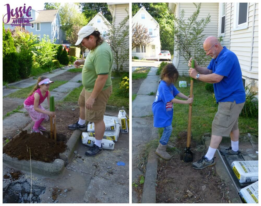 Helping dig post holes
