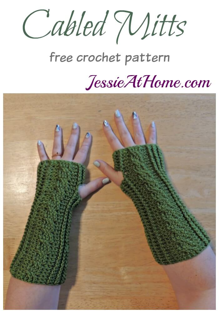 Crochet Cabled Mitts Jessie At Home