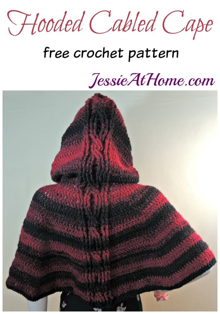 Hooded Cabled Cape free crochet pattern by Jessie At Home
