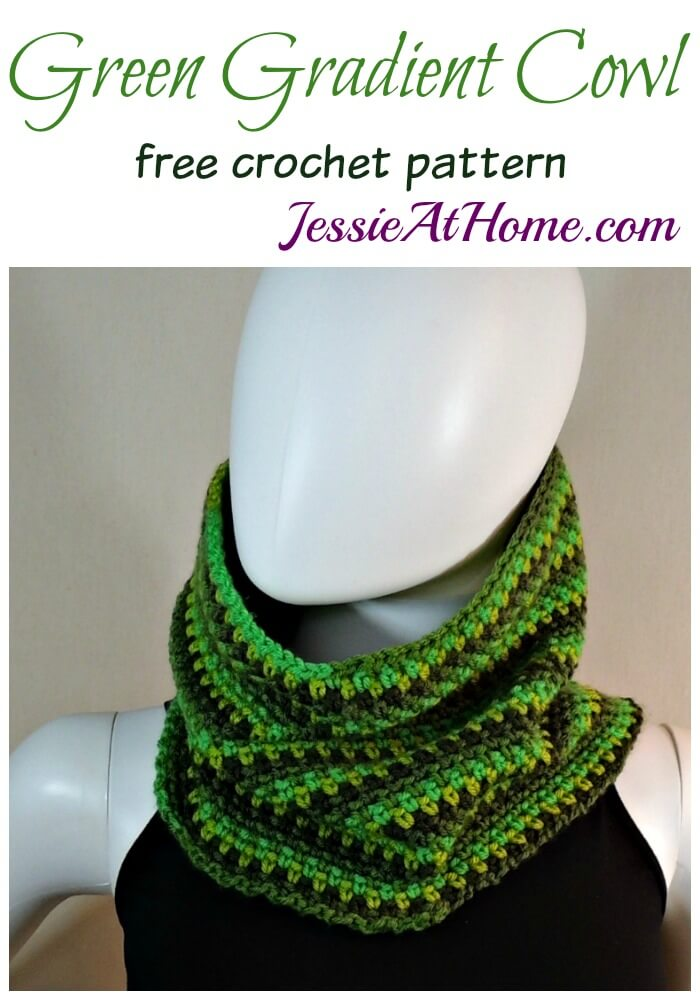 Green Gradient Cowl free corhcet pattern by Jessie At Home