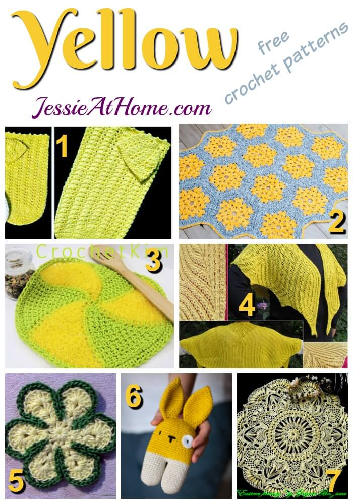 Yellow free crochet pattern round up from Jessie At Home