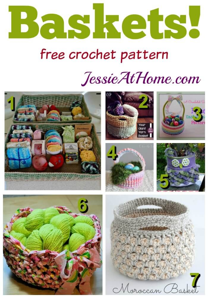 Baskets - free crochet pattern round up from Jessie At Home