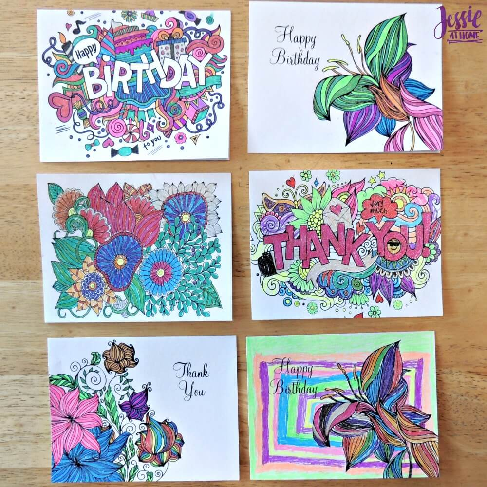 Colored in cards