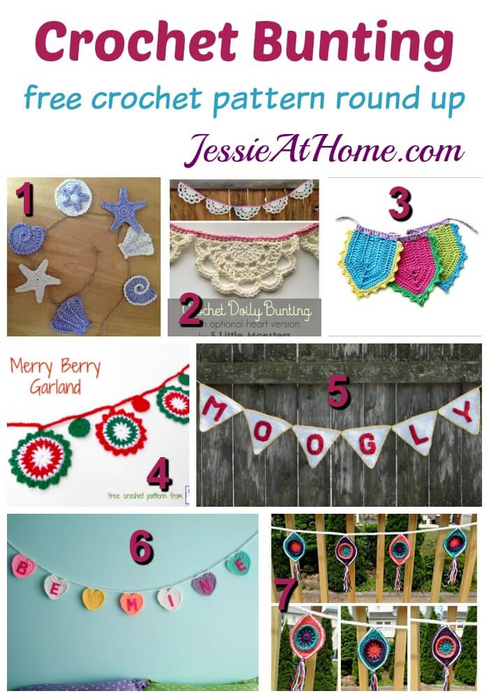 Crochet Bunting free crochet pattern round up from Jessie At Home