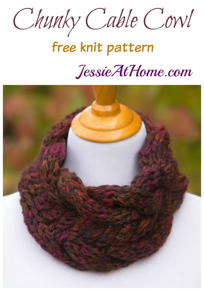 c3b74271cd7ce Cunky Cable Cowl free knit pattern by Jessie At Home. Chunky Cable Cowl