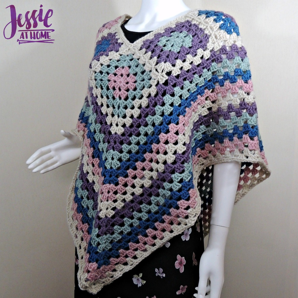 Granny Border Poncho - crochet pattern by Jessie At Home - 4
