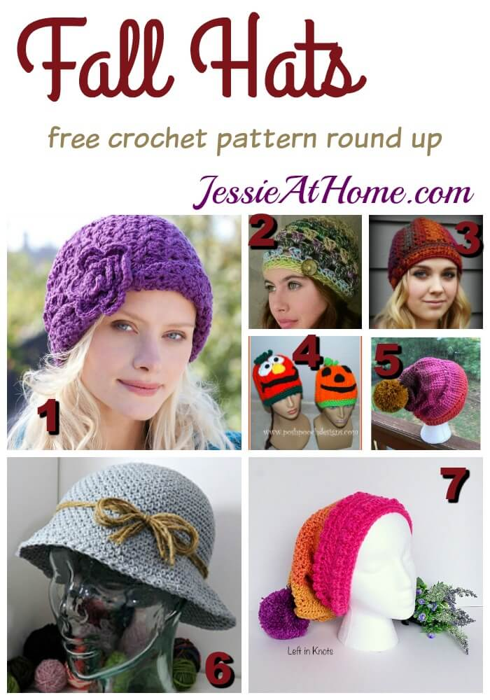 Fall Hats free crochet pattern round up from Jessie At Home