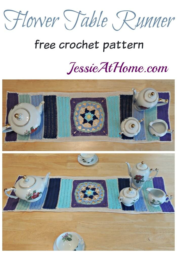 Flower Table Runner free crochet pattern by Jessie At Home