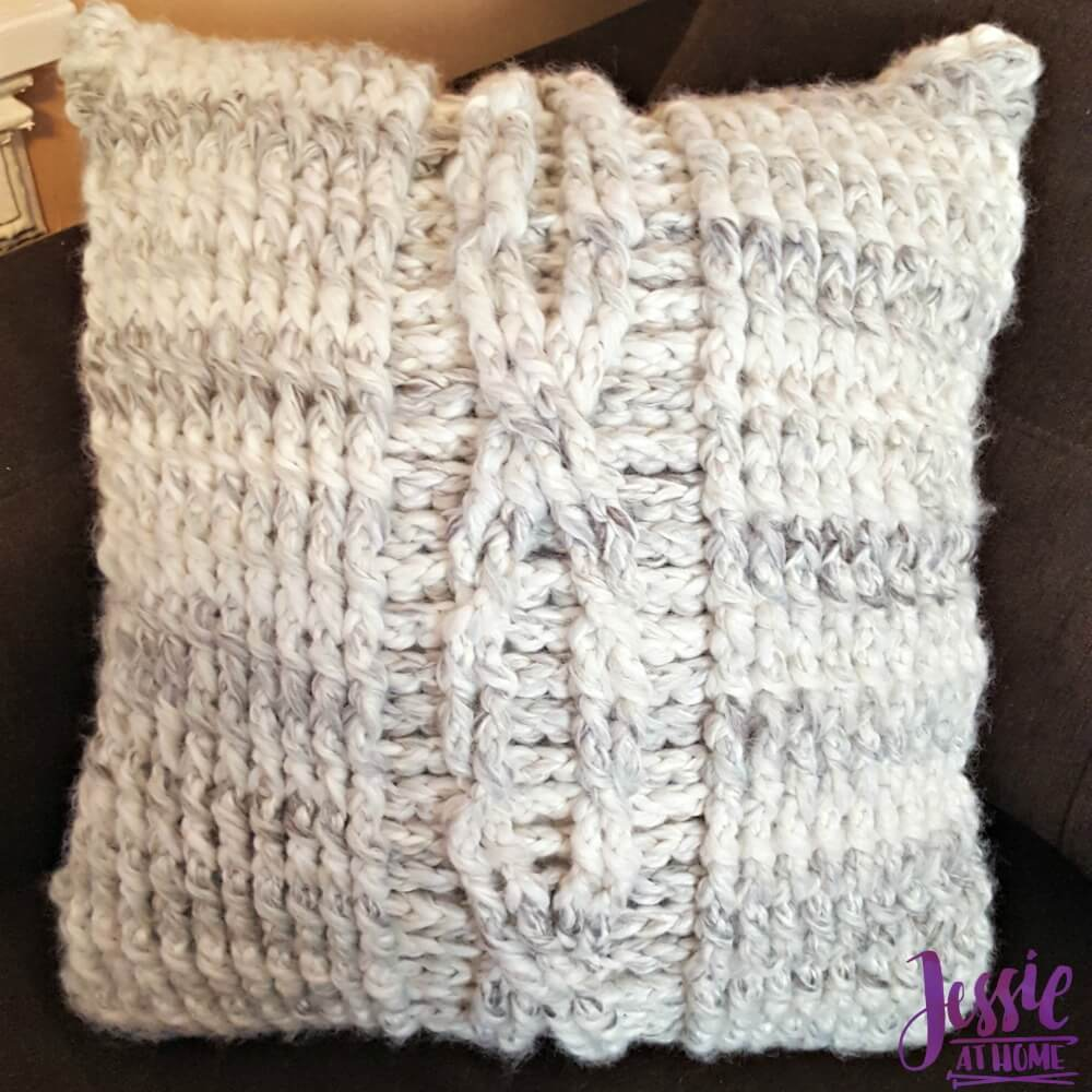 Giant Crochet Cable Pillow - free crochet pattern by Jessie At Home - 3
