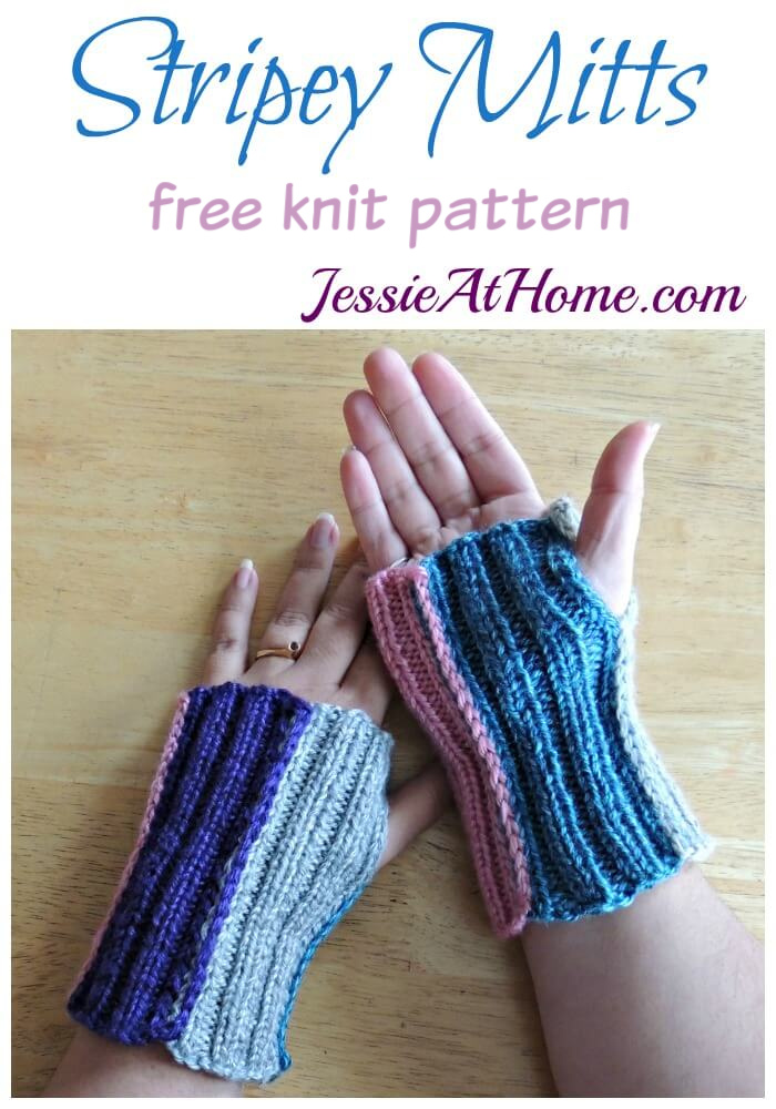 171103 Stripey Mitts - free knit pattern by Jessie At Home