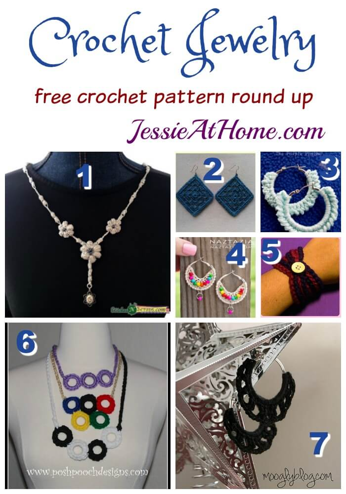 Crochet Jewelry free crochet pattern round up from Jessie At Home