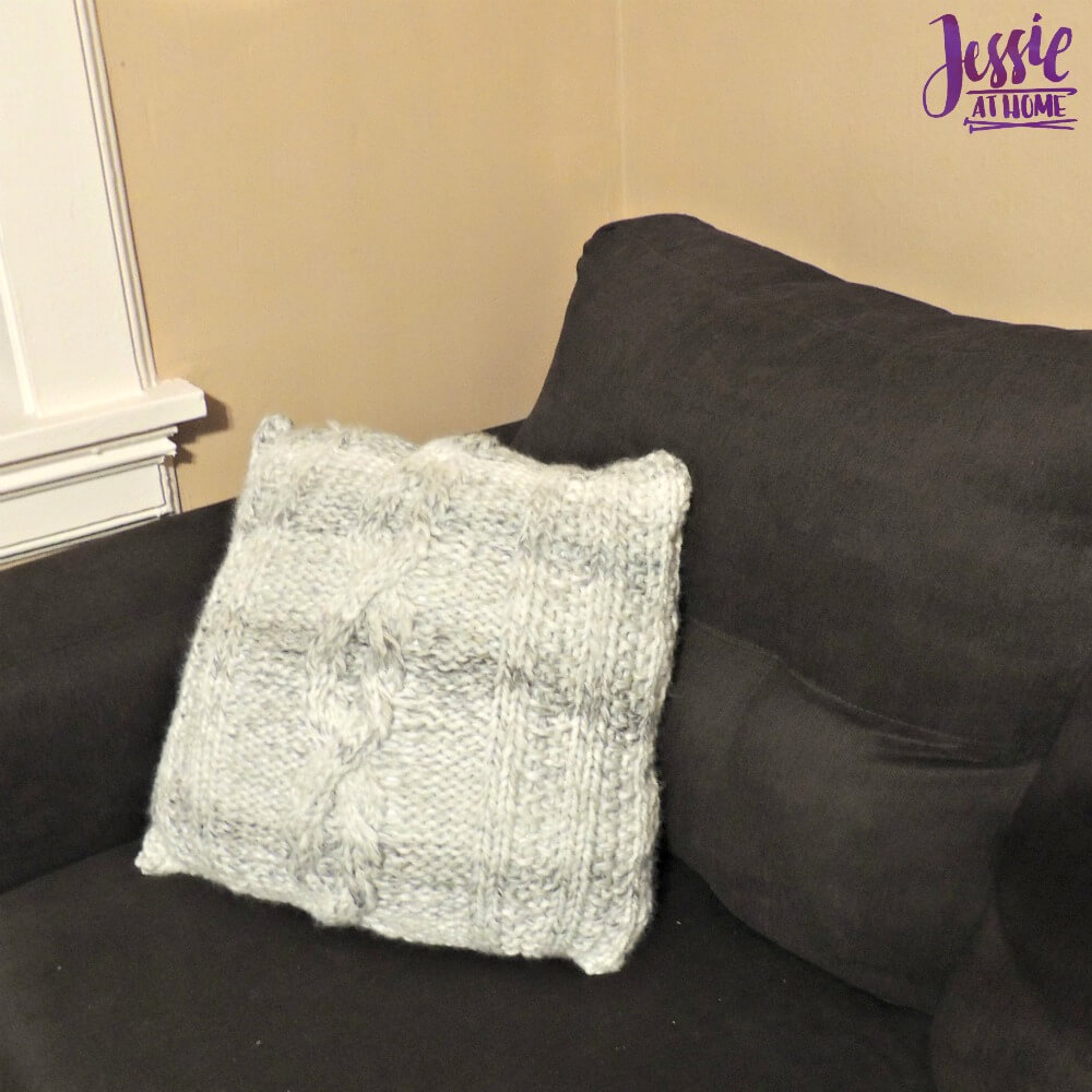 Giant Cabled Knit Pillow free knit pattern by Jessie At Home - 2