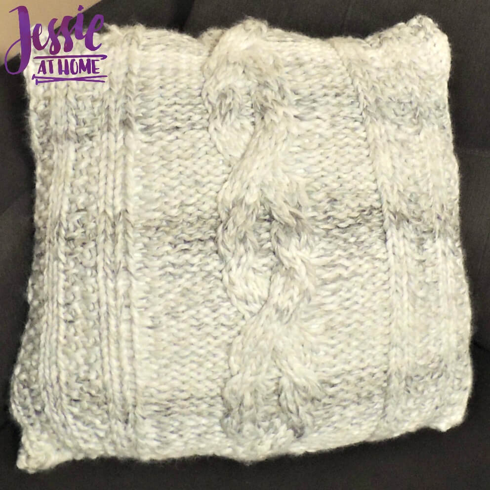 Giant Cabled Knit Pillow free knit pattern by Jessie At Home - 3