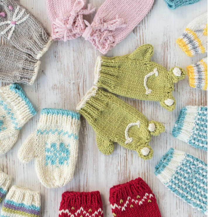 Knitted Baby Mitts - many mitts