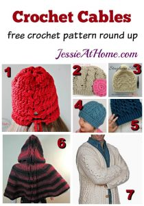 Crochet Cables - free crochet pattern round up from Jessie At Home