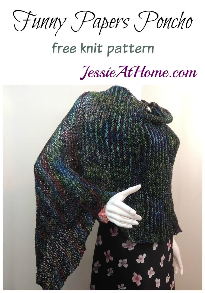 Funny Papers Poncho - free knit pattern by Jessie At Home