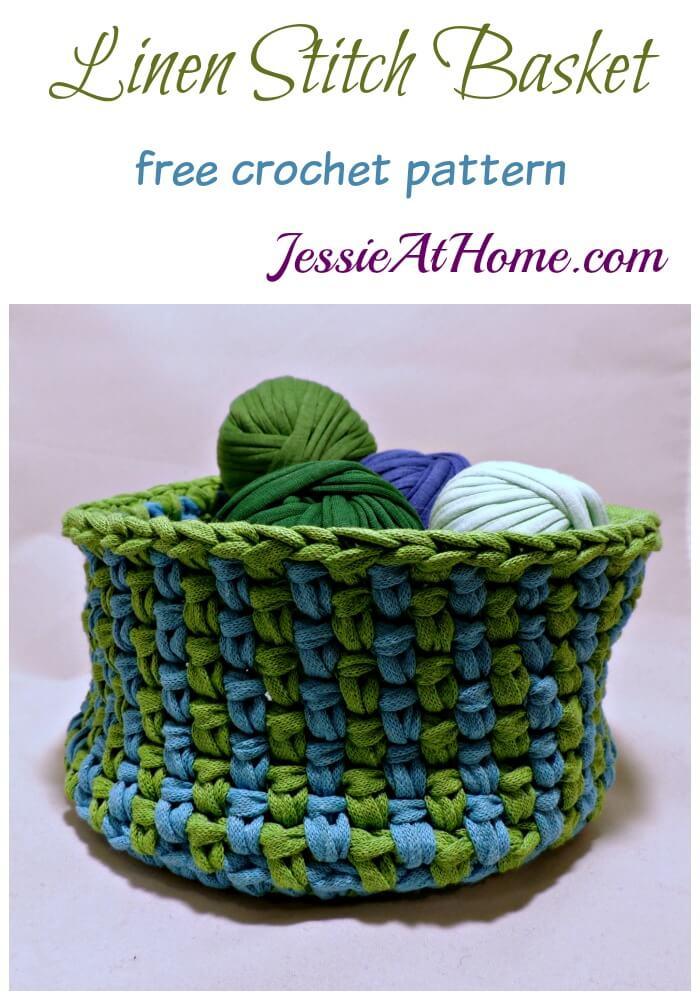 Linen Stitch Basket free crochet pattern by Jessie At Home