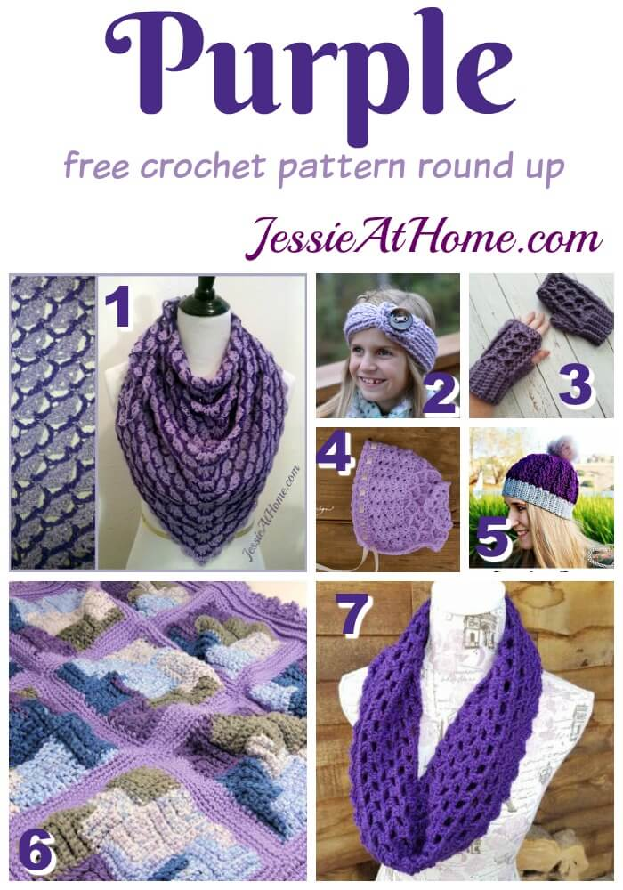 Purple free crochet pattern round up from Jessie At Home
