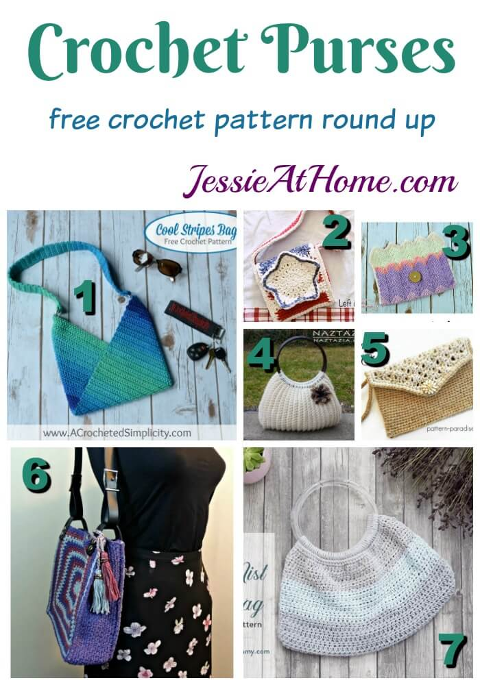 Crochet Purses - free crochet pattern round up from Jessie At Home