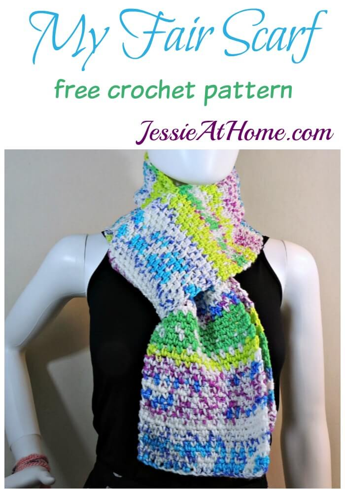 My Fair Scarf - free crochet pattern by Jessie At Home - Scarf with a Fair Isle pattern & crochet linen stitch