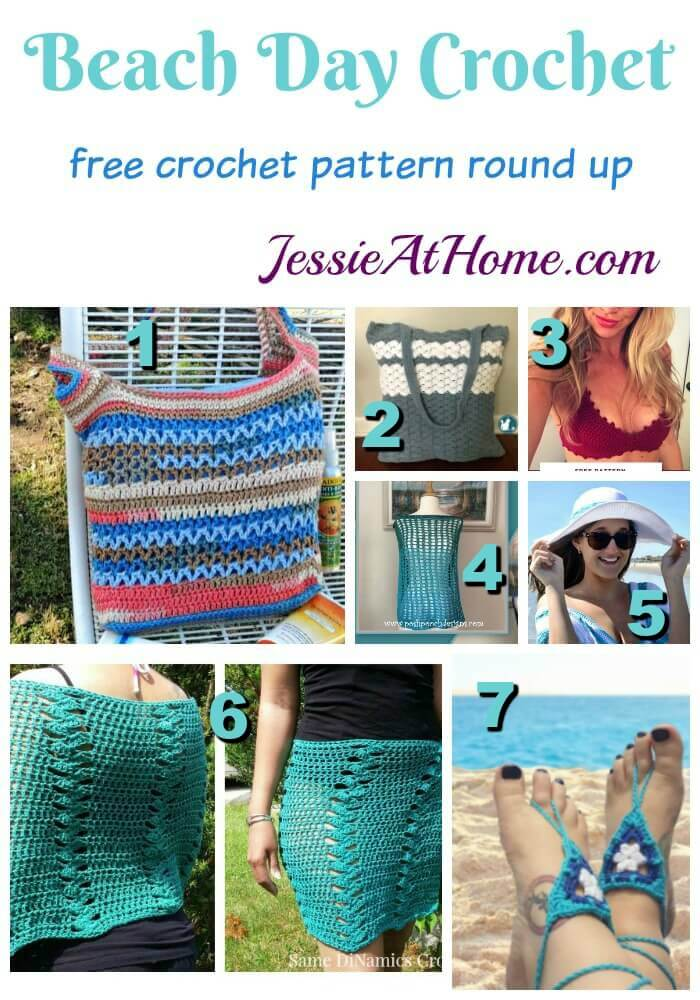 Beach Day Crochet free crochet pattern round up from Jessie At Home - free beachwear crochet patterns