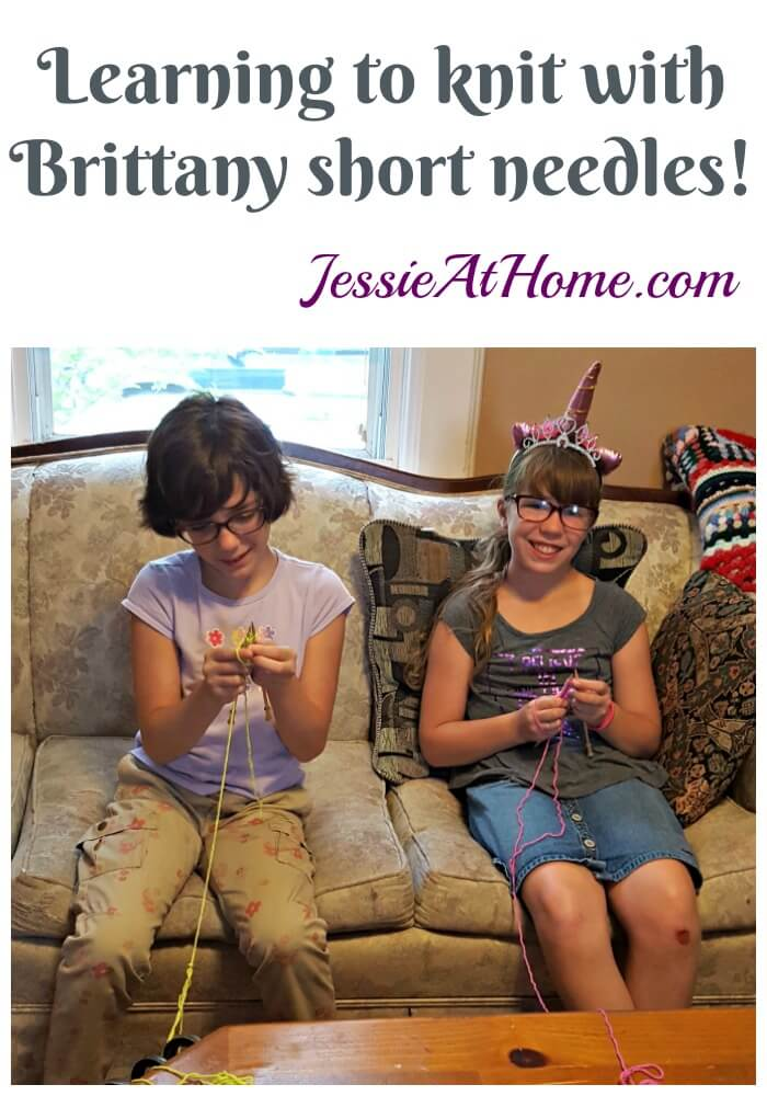 Learning to knit with Brittany short needles from Jessie At Home