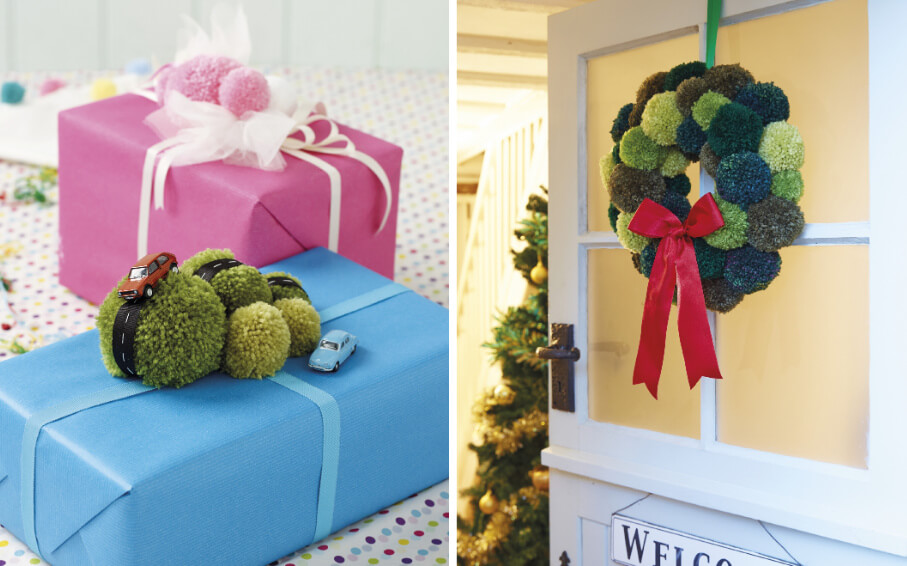 Pompom Noel book review from Jessie At Home gifts and wreath