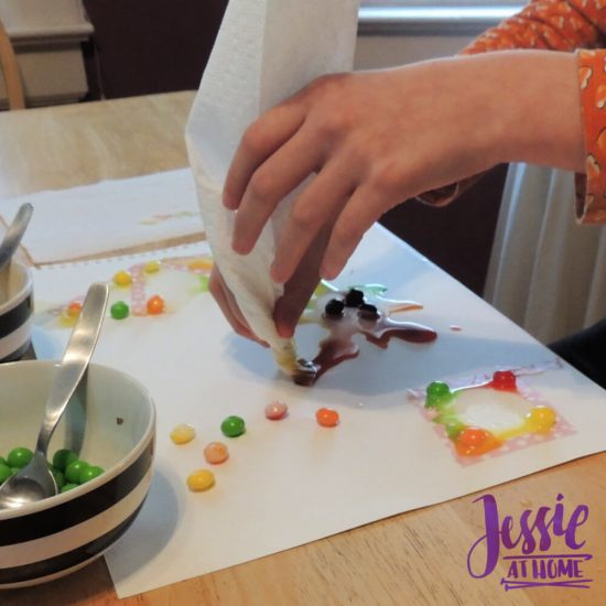 Painting with Skittles craft tutorial by Jessie At Home - Vada blotting