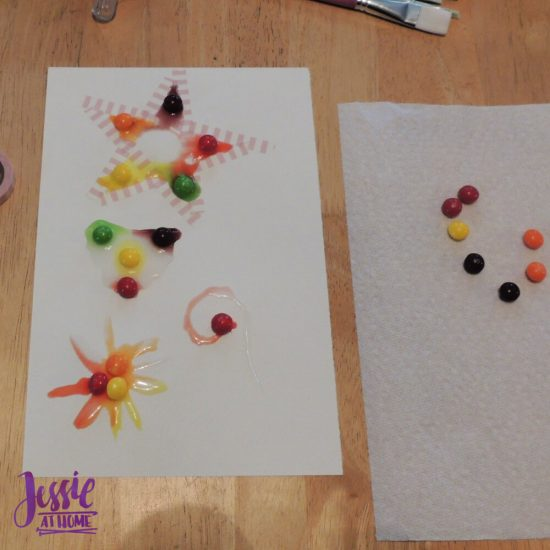 Painting with Skittles craft tutorial by Jessie At Home - star sitting