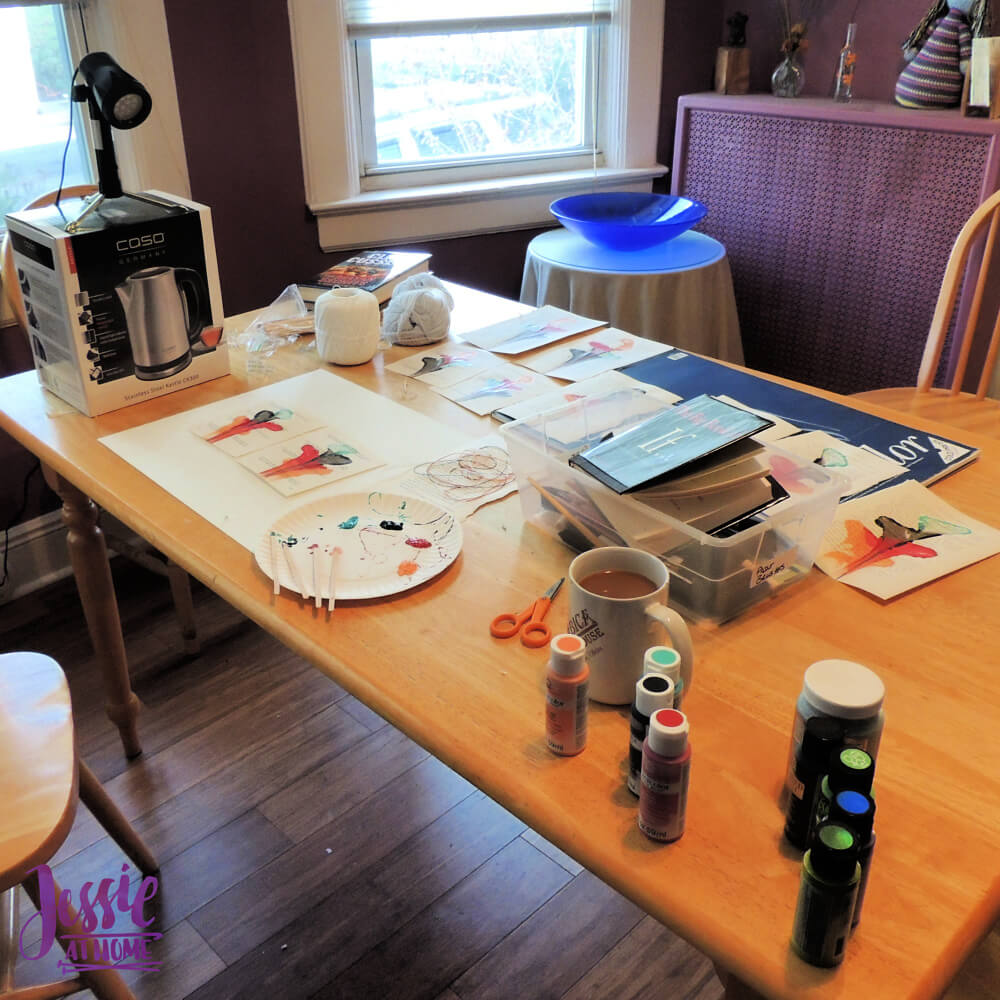 Pretty Painted Pages with Plaid Paints by Jessie At Home - my work space