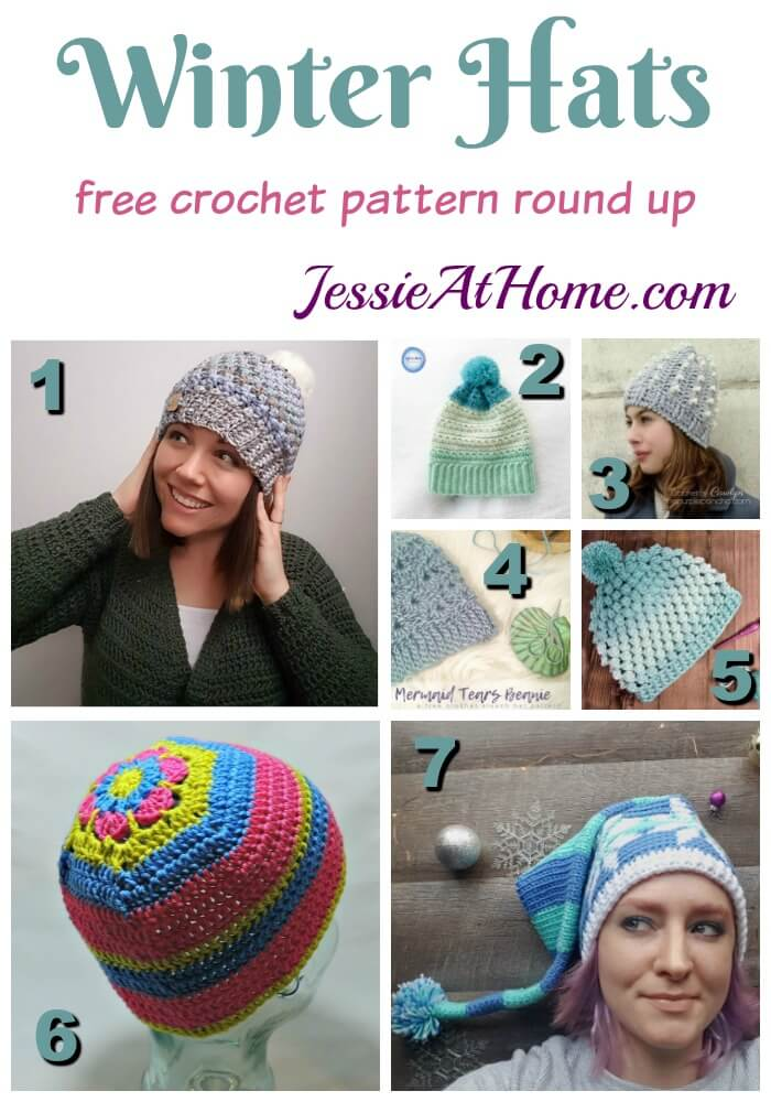Winter Hats free crochet pattern round up from Jessie At Home