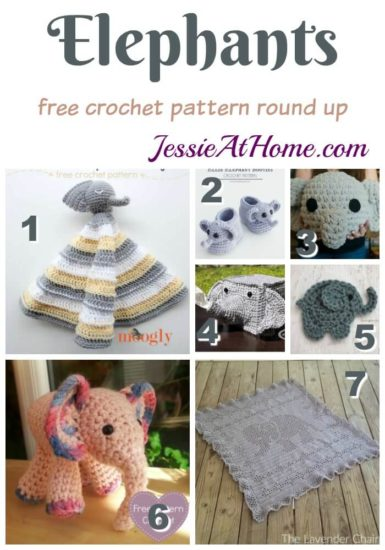 Free Crochet Patterns and Designs by LisaAuch: Crochet a Flat Elephant Toy  Pattern (perfect for Baby Mobiles) | 550x385