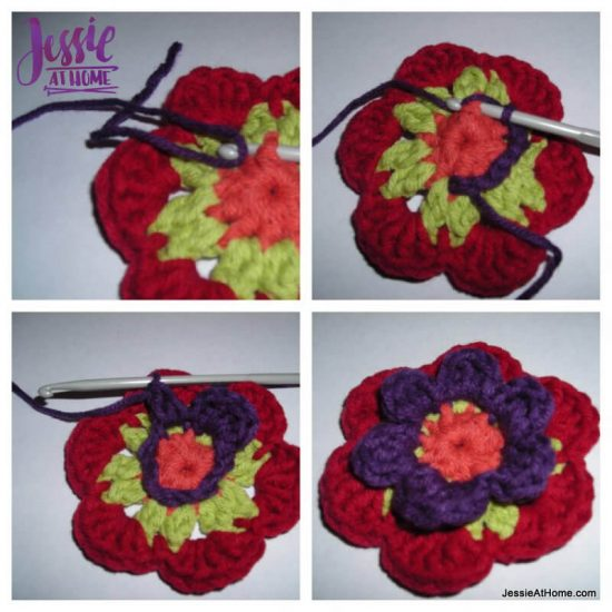 Flower to Hexagon Granny free crochet pattern by Jessie At Home tutorial - 4
