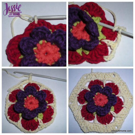 Flower to Hexagon Granny free crochet pattern by Jessie At Home tutorial - 5