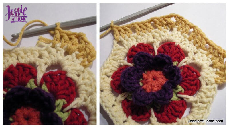 Flower to Hexagon Granny free crochet pattern by Jessie At Home tutorial - 6