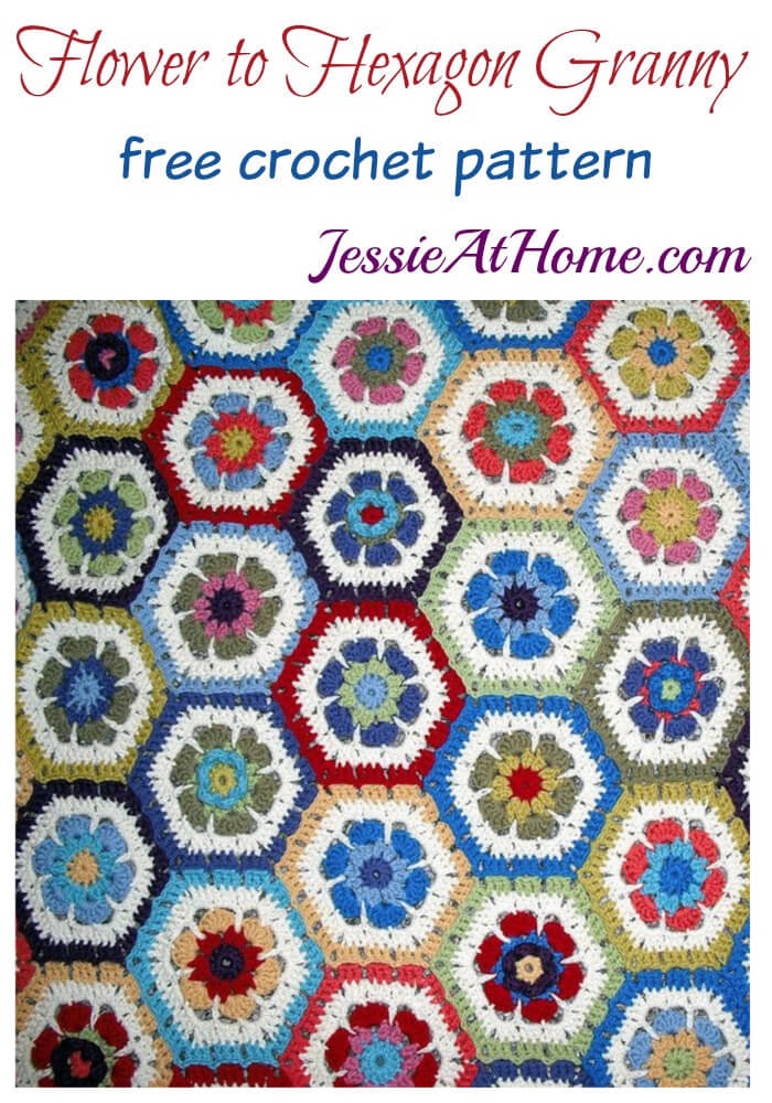 Flower to Hexagon Granny free crochet pattern by Jessie At Home