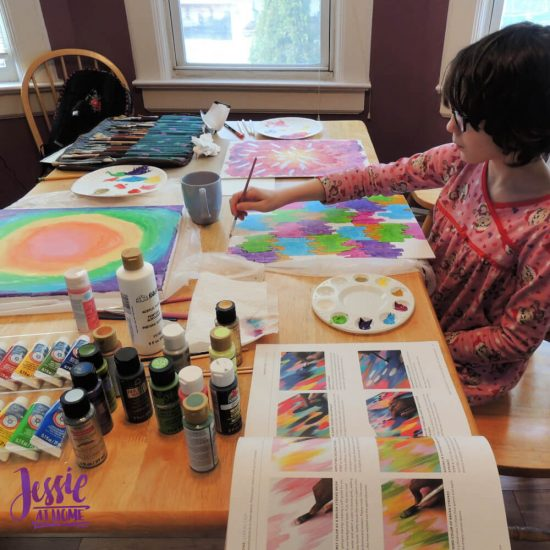 Happy Abstracts - painting book for kids and adults - review by Jessie At Home - making progress