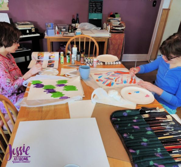 Happy Abstracts - painting book for kids and adults - review by Jessie At Home - practicing