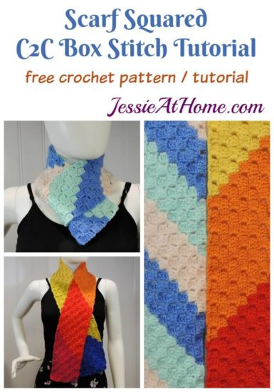 Scarf Squared - C2C Box Stitch free crochet pattern and tutorial by Jessie At Home
