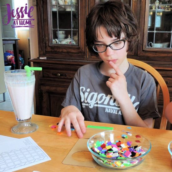 Marvelous Mosaics Orange Art Box Projects from Jessie At Home - thinking hard
