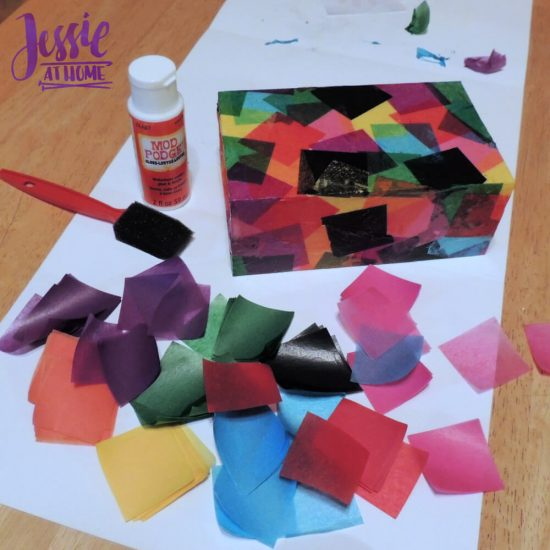 Marvelous Mosaics Orange Art Box Projects from Jessie At Home - wooden match box