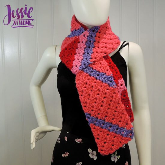 Scarf Squared Half Double Crochet C2C Box Stitch Tutorial - free crochet pattern and tutorial by Jessie At Home - 2