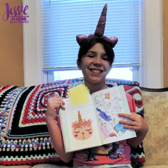 Unicorn Tales - a guided journal review from Jessie At Home - happy Kyla