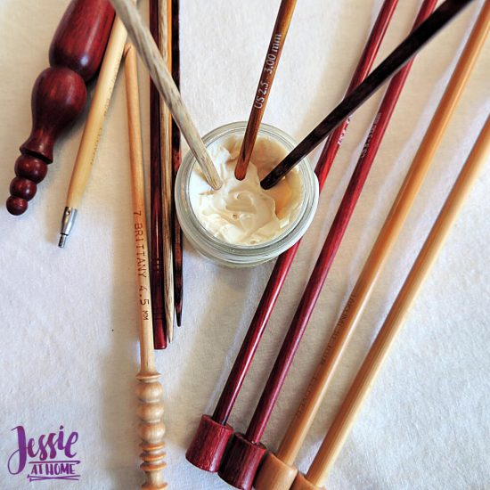 Caring for Wooden Crochet Hooks and Knitting Needles from Jessie At Home - in wax